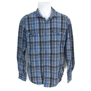 Lucky Brand Jeans Men's Blue Plaid Button Front L